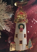 24k GOLD FINISH MARBLEHEAD LIGHTHOUSE ORNAMENT